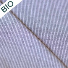 Popeline à rayures bleu marine coton bio