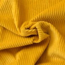 Tissu velours grosses côtes jaune moutarde
