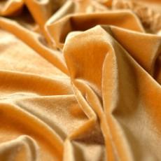 Tissu velours fleurs incrustées jaune ocre
