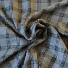 tissu viscose à carreaux gris noir