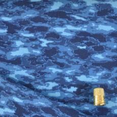 Tissu coton et lycra camouflage bleu