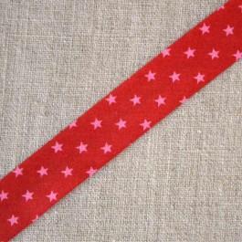 Biais à étoile rouge framboise et rose clair