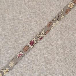 Biais à fleurs gris beige et rose Lecien Froufrou