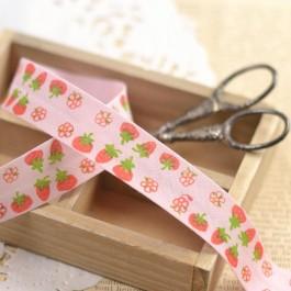 Biais fraises rose pour couture bebe
