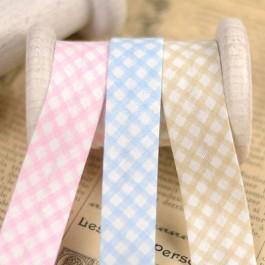 Biais vichy rose, bleu et beige carreaux
