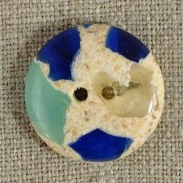 Bouton semi-transparent bleu vert diamètres 14-18-22 mm