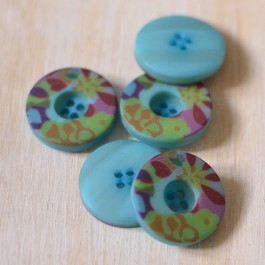 Bouton fleurs turquoise 22 mmm