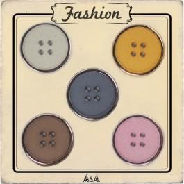 Bouton cerclé argent gris, marron, jaune moutarde et rose