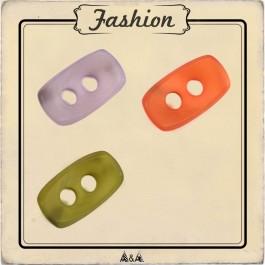 Bouton ovales et concaves orange, violet et vert