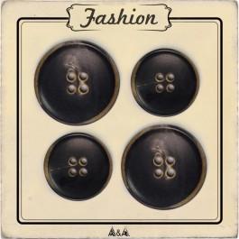 Bouton en corne 22 et 27 mm à coudre sur un manteau ou veste d'hiver