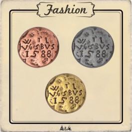 Bouton cuivre, bronze ou argent gravé