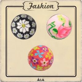 Bouton demi-perle fimo fleurs rose ou noir