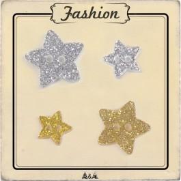 Joli bouton à paillettes étoile argent or