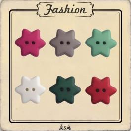 bouton étoile rose, taupe, vert, blanc, vert sapin et rouge