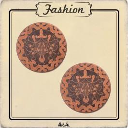 Bouton cuivre gravé arabesque