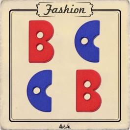 Bouton lettre b et c rouge et bleu pour enfant