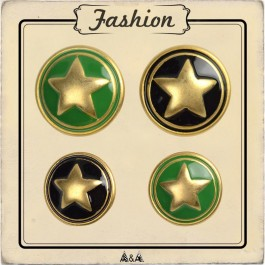 Bouton étoile en métal vert ou noir
