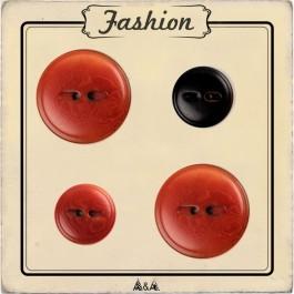 Bouton rouge et noir imitation bois