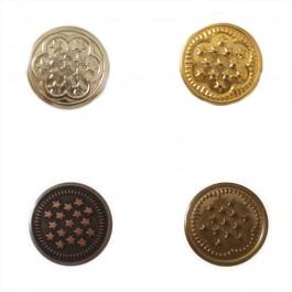 Boutons de jean argent, or, cuivre et bronze