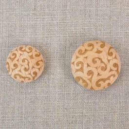 Boutons bois arabesque en deux diamètres