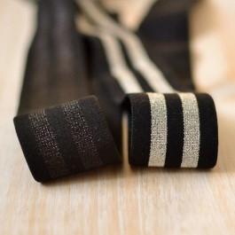 Elastique lurex bandes argent sur noir souple et doux