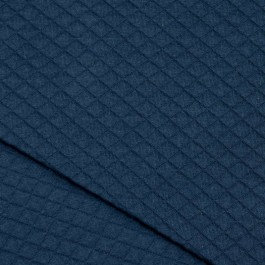 Jersey matelassé bleu canard en coton bio