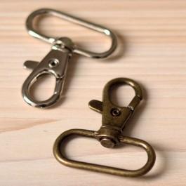 mousqueton métal pour sangle de sac 30 mm argent ou bronze