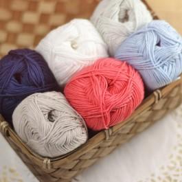 Coton bio à tricoter Terra de Cheval Blanc, banc, bleu marine, beige mastic, bleu clair, corail et gris perle
