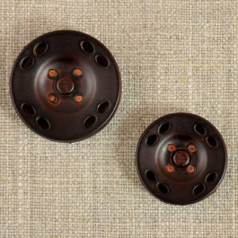 Grand bouton-pression rond imitation cuir