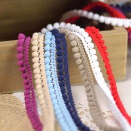 Ruban mini pompon à coudre au mètre : prune, beige, bleu clair, bleu marine, taupe, blanc et rouge