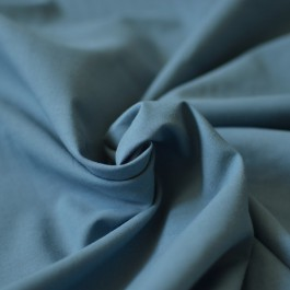 Tissu popeline coton Bio uni bleu jean
