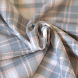 Tissu bio carreaux rose et gris