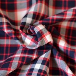 Tissu carreaux Bio bleu marine et rouge