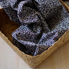 Tissu voile de coton Bio imprimé bleu marine oiseaux