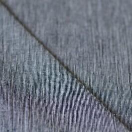 Tissu lin et coton à rayures bleu marine crepon