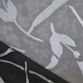 tissu dévoré fleurs gris