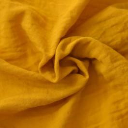 Tissu coton Bio double-gaze moutarde