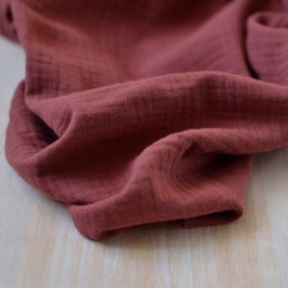 Tissu double-gaze unie Bio terracotta GOTS