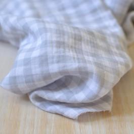 Tissu double-gaze de coton Bio à carreaux gris et blanc au mètre