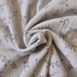 Tissu double-gaze coton bio feuilles bleu rouille