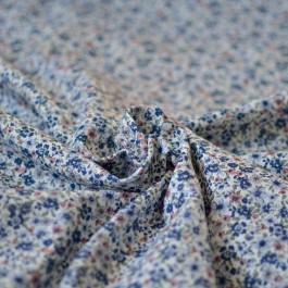 Tissu à fleurs bleu en coton bio au mètre