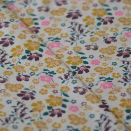 Tissu jersey fleurs Bio jaune moutarde, rose, violet et gris