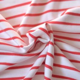 Jersey marinière rouge coton Bio à coudre