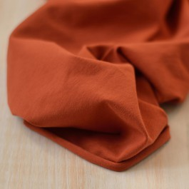 Tissu jersey coton Bio rouille au mètre