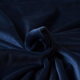 Tissu velours éponge coton Bio bleu marine nicky pour pyjama, short et sweat C pauli