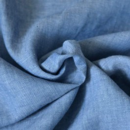 Tissu lin bleu jean naturel
