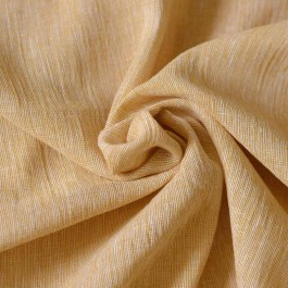 Tissu crepon lin jaune ocre