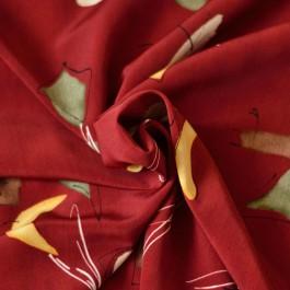 Tissu rouge microfibre imprimé formes géométriques