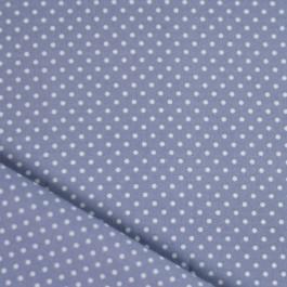 Tissu pois bleu gris coton