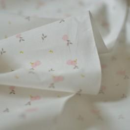 Tissu popeline fine lawn imprimée fruits rose et beige